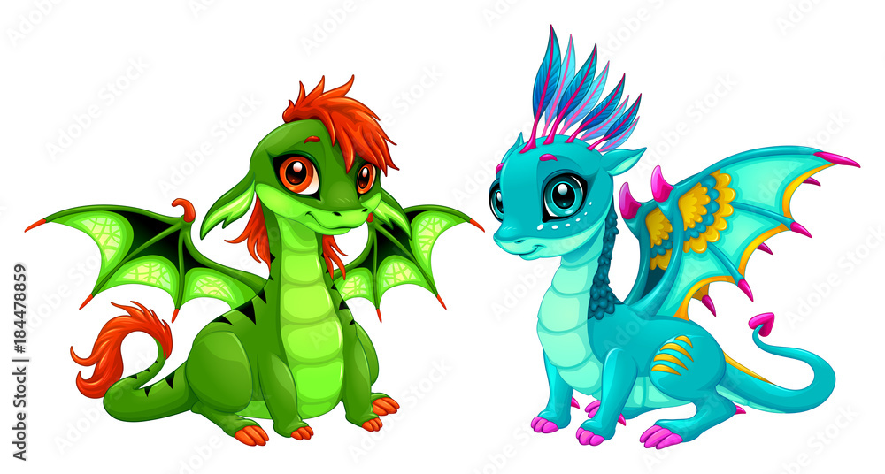 Fototapeta Baby dragons with cute eyes