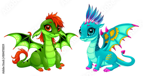 Poster Kinderkamer Baby dragons with cute eyes