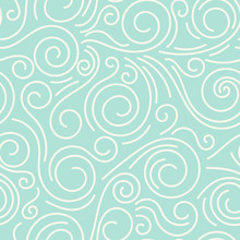 Abstract Hand Drawn Doodle Thin Line Wavy Seamless Pattern. Curly Linear Sky Or Sea Messy Background. Vector Illustration.