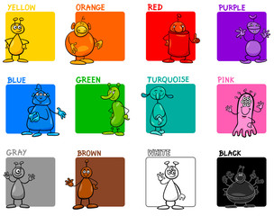 Fototapeta samoprzylepna main colors cartoon educational set with aliens
