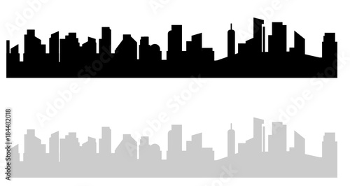 Black and white cityscape. Modern urban view on high house and skyscrapers in big city town. Gray dark vector illustration isolated from background