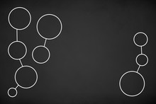 White Circles Network Connected On Chalk Board Background