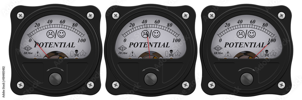 Fototapeta Level of POTENTIAL. Analog indicator showing the level of POTENTIAL in percentages. 3D Illustration. Isolated
