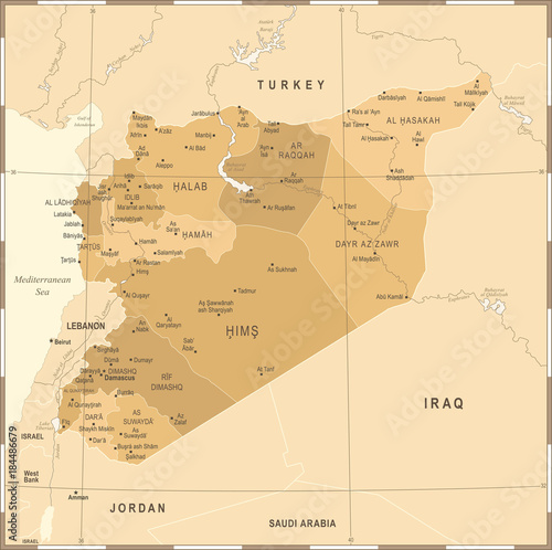Photo  Syria Map - Vintage Detailed Vector Illustration