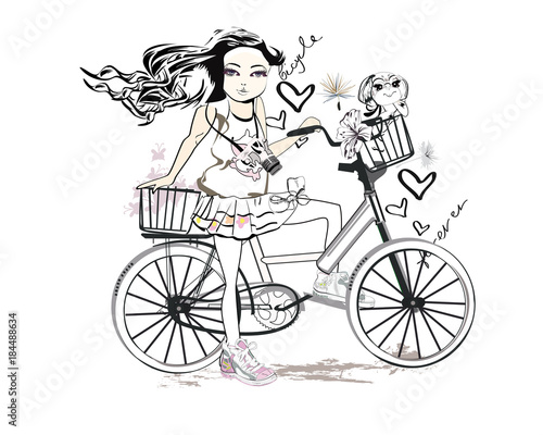 Fototapety, obrazy: Sketch of a cute fashion girl with a dog riding the bicycle. Hand drawn vector illustration.