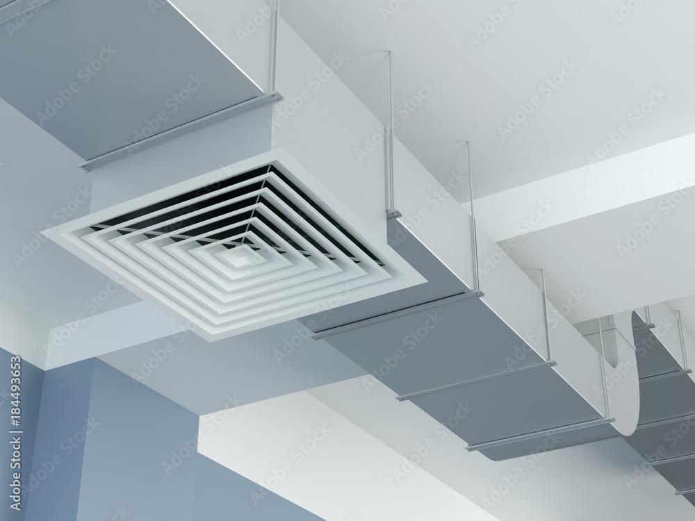 Valokuva  Industrial air duct ventilation equipment