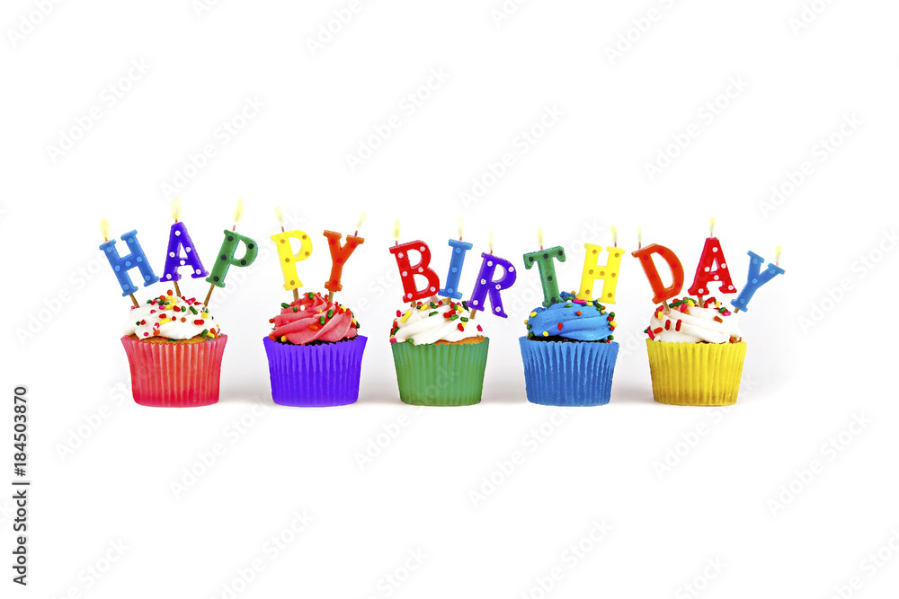 Colorful Happy Birthday Candles On Cupcakes Foto Poster Wandbilder Bei EuroPosters