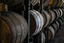 Bourbon Barrels In Rickhouse