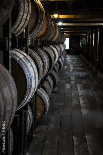 Photo Bourbon Barrels in Rickhouse