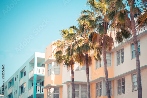 Typical South Beach Miami art deco district architecture