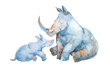 Cute Little Rhinoceros With Hi...