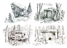 Set Ancient Cave. Prehistoric House Of Wood Or Stone Rock With The Remains Of A Man. Forest Landscape. Habitat Of Pristine Civilizations. Close Up. Engraved Hand Drawn In Old Sketch, Vintage Style.