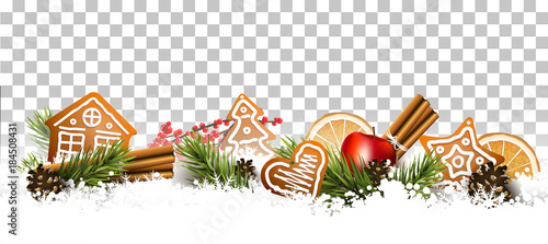Fototapeta Traditional Christmas border obraz