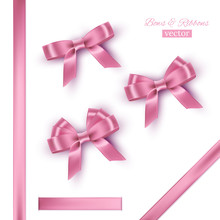 Pink Bows And Ribbons. Vector ...