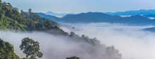 Panorama At Sea Of Mist On The Hilltop. In The Morning The Cold Weather Is Make Floating Fog On The Mountain As A Sea Of Mist.