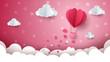 Heart, cloud, air ballon illustration.
