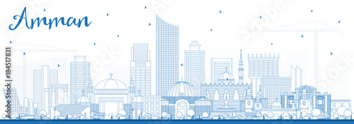 Outline Amman Jordan Skyline with Blue Buildings. Wallpaper Mural