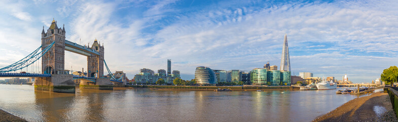 London - The panorama with the Tower bridge Town hall and riverside in the morning light.