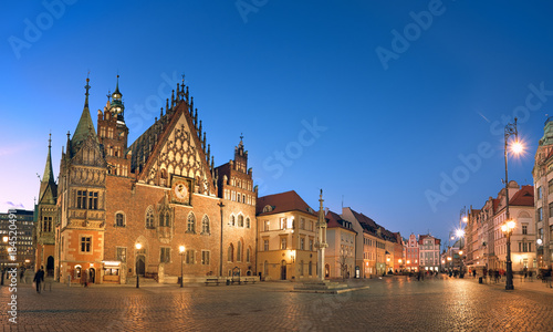 Foto op Canvas Brussel Wroclaw city in Poland, panoramic image or Town Hall