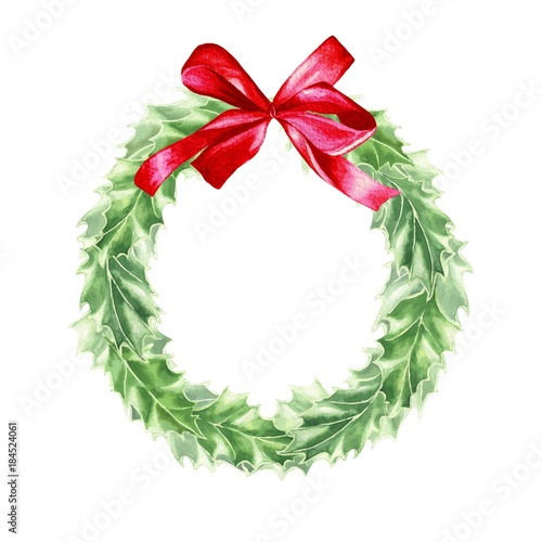 Fotografie, Obraz  Watercolor hand drawn Christmas wreath of holly leaves with red bow, isolated on white background