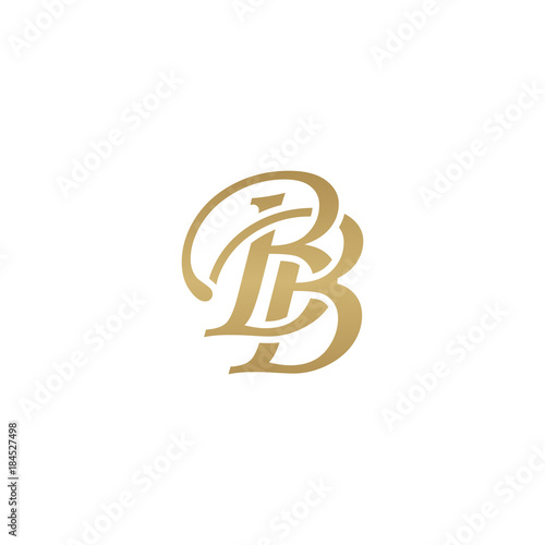 Initial letter BB, overlapping elegant monogram logo, luxury golden color Canvas Print