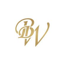 Initial Letter BW, Overlapping Elegant Monogram Logo, Luxury Golden Color