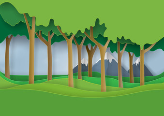 Fototapeta samoprzylepna Green nature forest landscape scene paper art background.Ecology and environment conservation concept design.Vector illustration.