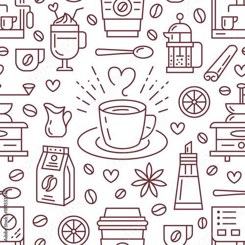 Tapety z jedzeniem i napojami bezszwowy-wzor-kawa-wektorowy-tlo