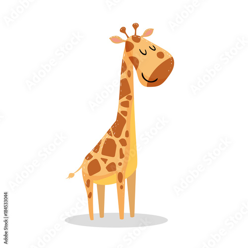 Naklejka premium Kreskówka modny design mała żyrafa z zamkniętymi oczami. Ikona ilustracja wektora dzikich zwierząt afrykańskich.