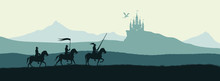 Black Silhouette Of Knights On...