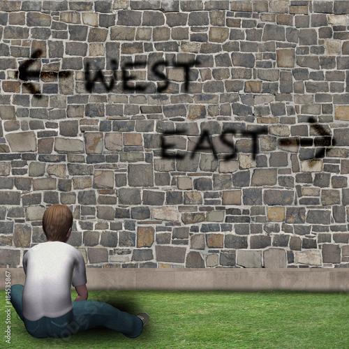Photographie  Ragazzo davanti alle scelte della vita, WEST, EAST
