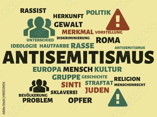 Photo ANTISEMITISMUS - Bilder mit Wörtern aus dem Bereich Rassismus, Wort, Bild, Illus