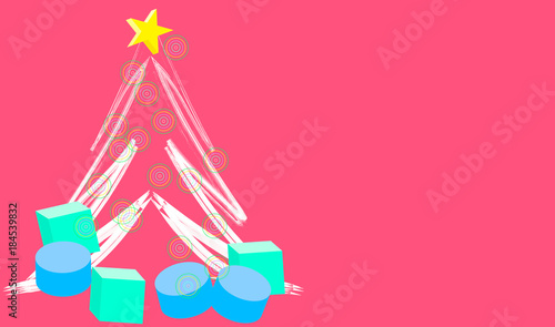 Cartolina auguri di Natale Rosa con regali sotto l'albero di natale Wallpaper Mural