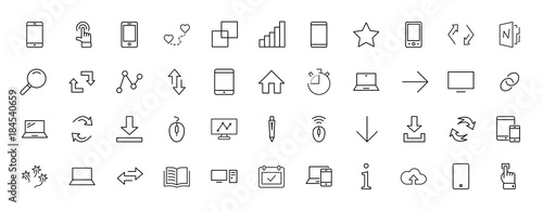 Set of smart devices and gadgets, computer equipment and electronics. Electronic devices icons for web and mobile vector line icon. Editable move. 32x32 pixels.