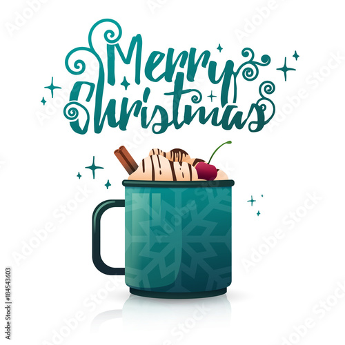Design seasonal banner Merry Christmas. Poster template with mug hot ...