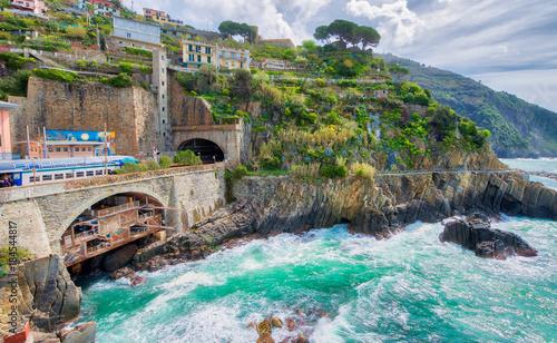 Poster Mediterraans Europa Cinque Terre, Italy. Coastline view in spring season