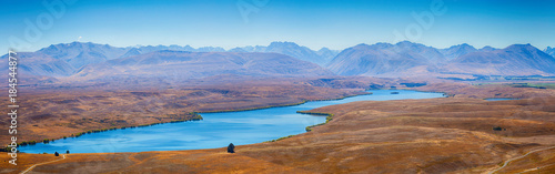 Panorama Lake Alexandrina in Central Canterbury South Island, New Zealand Canvas Print