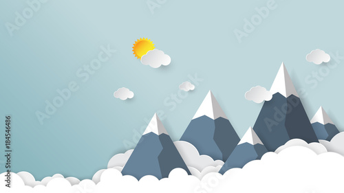 Photo  Clouds,mountains and sky background