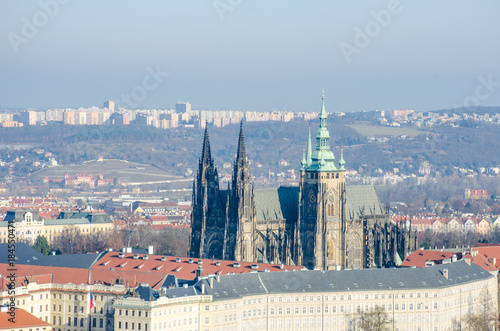 Canvas Prints Light pink St Vitus Cahedral Prague viewed from Petrin