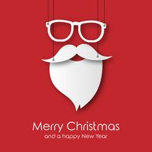 Hipster Weihnachtsmann An Fäden - Merry Christmas - Karte