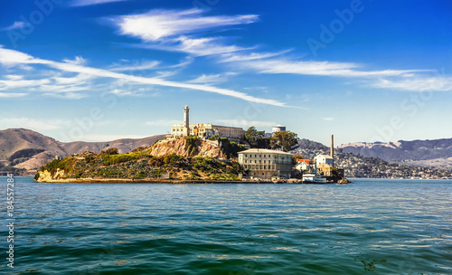 Canvas Print Alcatraz Island and former federal penitentiary on sunny day in San Francisco Ba