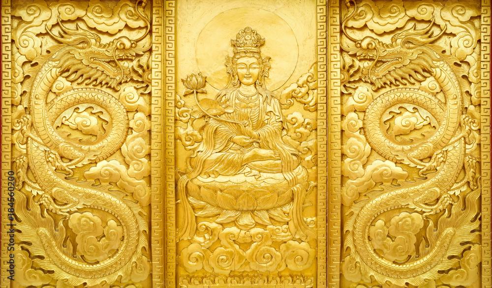 craft of golden Guan Yin and dragon