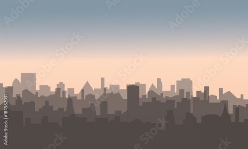Foto op Plexiglas Grijs Decorative horizontal evening landscape of modern city