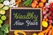 Leinwanddruck Bild - Composite image of healthy new year