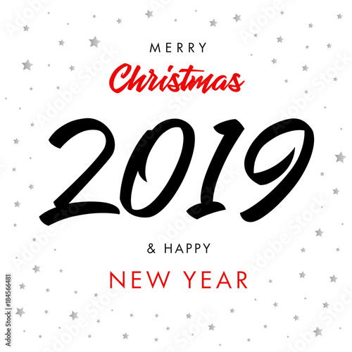 Merry christmas calligraphy black number 2019 and happy new year merry christmas calligraphy black number 2019 and happy new year greeting card vector happy new m4hsunfo