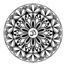 Mandala Frame With Om Symbol. ...