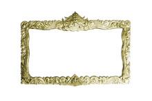 Old Decorative Gold Frame - Handmade, Engraved - Isolated On White Background