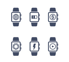Smart Watch Vector Icons On White