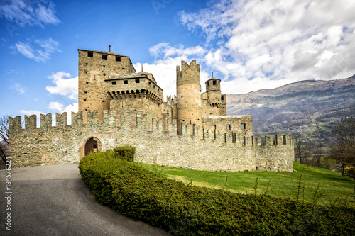 Photo The Fenis Castle in Aosta Valley, Italy