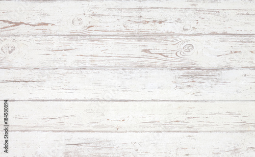 Poster Bois Grunge background. White wooden texture. Peeling paint on an old wooden floor.